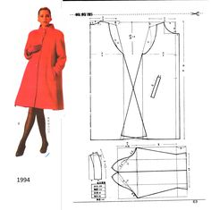 Baby Dress Patterns, Easy Sewing Patterns, Coat Patterns, Clothing Patterns, Long Jackets For Women, Barbie Vintage, Pattern Draping, Sewing Blouses, Sewing Coat