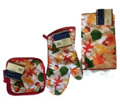 Autumn Fall Leaves Kitchen Linen Set 4pc Oven Mitt Dishtowel Pot Holders Green…