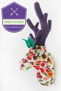 Tutorial: Make a Fabric Deer Head (or Rudolph) | Charming Doodle...sew it, build it!: Tutorial: Make a Fabric Deer Head (or Rudolph) #freepattern