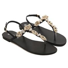 $22.45 Fashionable Black and Rhinestones Design Sandals For Women