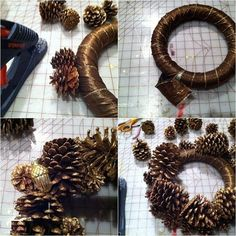 how to make a pine cone wreath (How To Make Christmas Pine Cones) Pine Cone Art, Pine Cone Crafts, Pine Cones, Fall Crafts, Holiday Crafts, Crafts To Make, Pine Cone Wreath, Fall Wreaths, Christmas Wreaths