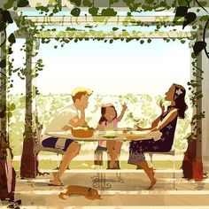 Pergola. The days are getting warmer .. time to start enjoying lunches under the pergola! #pascalcampion #pascalcampionart #sketchoftheday #outdoorliving