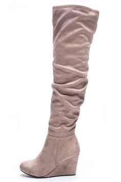 "Gray taupe wedge suedette over the knee boot with a side zipper for ease of putting on and ruching up the leg. Pair with skinny jeans or leggings and a large look sweater for a cute and cozy look.    Heel height -3"" Shaft-23"" Circumference-8""    Ultra Suedette Boot by Chinese Laundry. Shoes - Boots - Over The Knee New York"