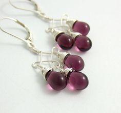 Earrings with Purple Glass Teardrops on Twist by jewelrybyroz