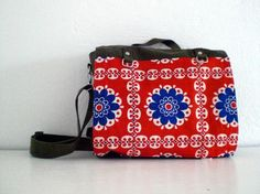 Messenger bag, upcycled german army bag with vintage fabric, by fingerfabrik, $70,00