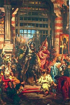 Kiev - Boleslaw Chrobry and Sviatopolk the Accursed at Kiev, in a legendary moment of hitting the Golden Gate with the Szczerbiec sword. Painting by Jan Matejko. Boleslaw on family tree. European Paintings, Old Paintings, Poland History, Art History, Monuments, Royal Family Trees, Art Database, Historical Pictures, Portrait