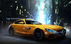 Descargar fondos de pantalla Mercedes-AMG GT S, supercars, el arte, la noche, sportcars, Mercedes