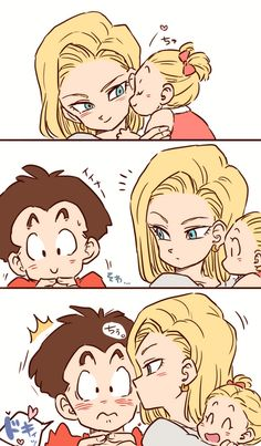 Krillin & Android 18http://touch.pixiv.net/member_illust.php?mode=manga&illust_id=50099022 Honestly wasn't too sure of this while watching the show but it's cute