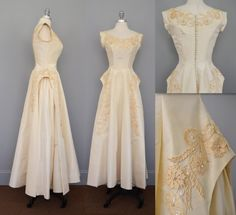 Romantic Vintage 1950s Wedding Dress with Lace Appliques / cap sleeves / Princess Dress / Victorian Style Gown