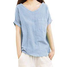 511c86dce Luckycat Camisetas Mangas Corta Mujer Camisa De Lino Top Casual De Mujer  Blusa Suelta Solida Mujer