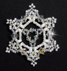 Snowflake Ornament Beading Pattern by Sandra D. Halpenny at Bead-Patterns.com