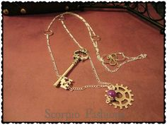 Steampunk Key Necklace  Gears Necklace  Extra by ScorpioFashions