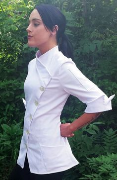 Sandra Harvey Yasmeen Style Fitted Chef Coat for Women short sleeve in Black or White. A perfect gift for the Chef,  Baker, Caterer,  culinary student. www.sandraharvey.com  Multiple style chef coats and jackets, chef pants, aprons, and more