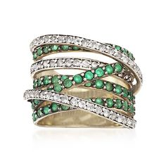 2.10 ct. t.w. Emerald and .60 ct. t.w. White Topaz Highway Ring in 14kt Gold Over Sterling | #838831 @ ross-simons.com size 5