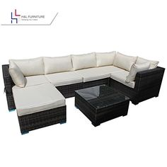 Patio Furniture Sets - HL Patio Outdoor Garden 7Piece Cushioned Seat Brown Rattan Wicker Sofa Furniture Set Elegant Lawn Sectional Furniture Set for AllWeather No Assembly Required *** Click image to review more details.