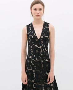 Image 2 of LACE V-NECKED DRESS from Zara