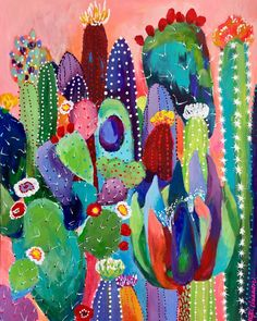 As in all the colors in the crayon box. 😁 When I was a little girl I wanted the BIG Crayola crayons box so so bad. I… art garden indoor plants Cactus Drawing, Cactus Painting, Cactus Art, Painting & Drawing, Cactus Plants, Posca Art, Desert Art, Mexican Art, Flower Wallpaper