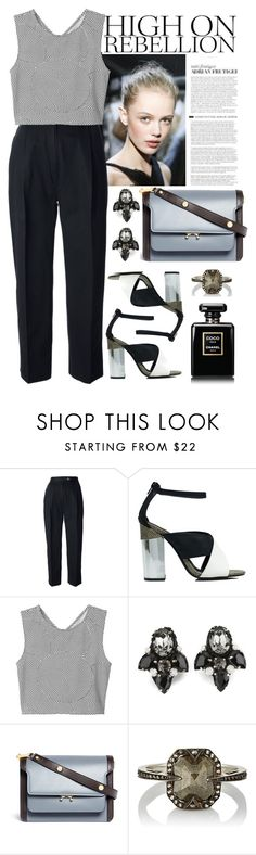 """""""Без названия #2453"""" by catelinota-a ❤ liked on Polyvore featuring CÉLINE, Nly Shoes, Monki, Matthew Williamson, Marni and Cathy Waterman"""