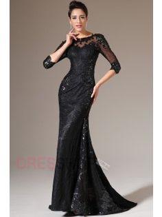 07e28cbe659f0 Black Half Sleeves Lace Evening Gown Robe Cocktail, Robe De Soirée Sirène, Robe  Soirée