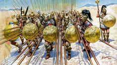 Philip provided his Macedonian solders in the phalanx with sarissa, a spear which was long 6 meters, about 18 feet. The sarissa, when held upright by the rear rows of the phalanx (there were usually eight rows), helped hide maneuvers behind the phalanx from the view of the enemy. When held horizontal by the front rows of the phalanx, it was a brutal weapon for people could be run through from 20 feet away.