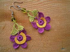 flower earrings, crochet, purple, yellow, green, dangle.via Etsy.