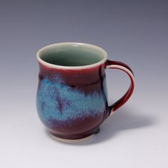 Wheel-thrown Porcelain Mug with red and Turquoise by hsinchuen