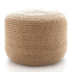 dash & albert braided natural pouf - Add a dash of organic texture to your favorite spaces with this braided rope pouf. Made of durable, eco-friendly jute, its ideal for extra, space-saving seating, as an ottoman, or as an accent table.