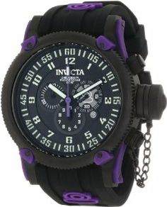 Invicta Men's 10184 Russian Diver Chronograph Black Dial Watch Invicta. $170.00. Mineral crystal; black ion-plated stainless steel case; black silicone strap with purple logo. Chronograph functions with 60 second, 30 minute and 1/10th of a second subdials; date function. Swiss quartz movement. Water-resistant to 100 M (330 feet). Black textured dial with black and white hands and purple second hand; off white arabic numerals; luminous; secured screw-down cap on crown; pu...