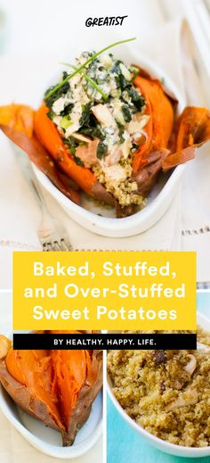Hello, new favorite weeknight meal. #sweetpotato #recipes https://greatist.com/eat/stuffed-sweet-potato-recipes