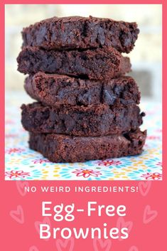 Egg-Free Brownies - Gooey, perfect egg-free brownies with NO weird egg-replacer ingredients. Save money by trying this recipe instead of a classic brownie recipe! Egg-free with dairy-free and vegan options. From CheapskateCook.com #eggfree #recipe #brownies
