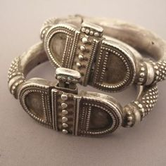 """Silver, India   Description  This pair of old bracelets of Rajasthan with its geometric patterns is remarkable for its work granulation ...The indicated price is for the 2 bracelets( 475€ each)   Weight:2 x 102,4gr  diameter:Int : 2,44 inch www.halter-ethnic.com...see """"Bracelets"""""""