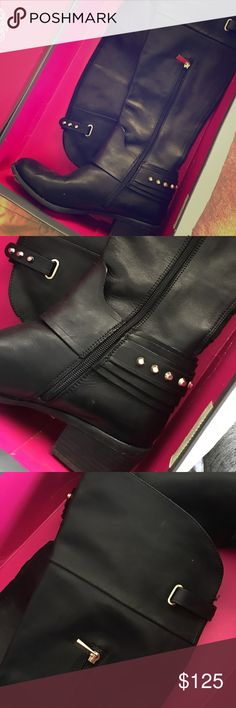 VINCE CAMUTO leather boots LOVE these! Worn only a handful of time, LIKE NEW. They hit just above the Knee, stacked heel. BEAUTIFUL detail with studding, buckle detail. Vince Camuto Shoes Over the Knee Boots