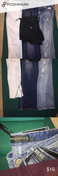 3 jeans and 1 pair of shorts! Bundle deals! 👖 The two denim jeans are size 0R from Rue 21. They are gently used. The white jeans are a bit shorter size 1 skinny jeans and have zippered up ends, moderately used. The shorts are an extra bonus! They are size 0 and are comfy and versatile. Rue 21 Jeans Skinny