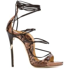 Dsquared2 strappy sandals (5.030 BRL) ❤ liked on Polyvore featuring shoes, sandals, heels, brown, snakeskin sandals, stilettos shoes, heels stilettos, open toe shoes and strap sandals