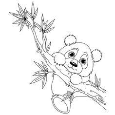 Coloriage panda accroché à une branche