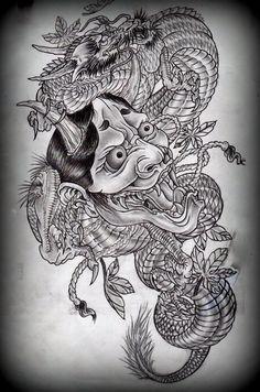 Hannya and dragon tattoo design on deviantART