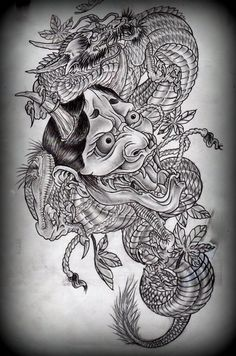 Hannya and dragon tattoo design on deviantART