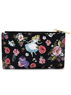 """Alice Character Floral Print"" Wallet by Loungefly (Black)"