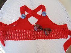 Cropped crochê,linha ANNE, 100% algodão. Estilo marinheiro.  Curta o verão na moda!!! R$ 50,00