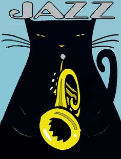 Jazz Cat Painting by Jerry Schwehm Crazy Cat Lady, Crazy Cats, Jazz Cat, All That Jazz, Space Cat, Jazz Music, My Town, Cool Cards, Greeting Cards