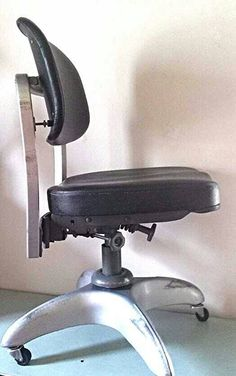 Vintage Emco Good Form Industrial Military Swivel Office Tanker Chair  Propeller Style Caster Base With Black