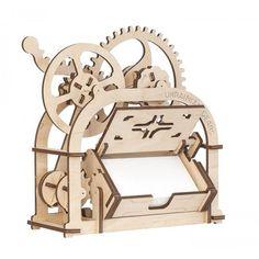Mechanical 3D wooden puzzle Box Card holder - Moving DIY model kit Más