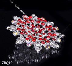 6.5x6.5cm Ruby Shining Fancy Flower Jewelry Crystal Rhinestone Pin Brooch