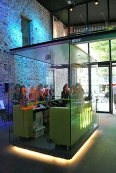 DJ booth inside glass... cool idea for a radio station in a public place but also possibly for events with @Rendezvous Events