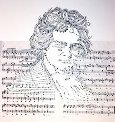 Musical notes portrait by Erika Iris Simmons