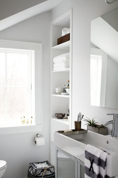 beautiful washroom & built-in shelving