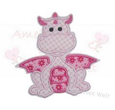Aufnäher - ♥ Drache in rosa Vichy ♥ Applikation  - ein Designerstück von amelies-welt-stickt bei DaWanda