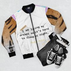 Manifinesse Dreams Bomber Jacket by FifthhouseCreations on Etsy Print Jacket, Everyday Look, Welt Pocket, Bomber Jacket, Unisex, Dreams, Casual, Jackets, Etsy