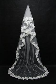 veu de noiva longo Romantic White Lace Appliques Edge Bridal Veils Long Bridal Accessories Soft Net 2015 Free shipping CPA091