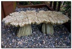 Concrete leaf bench